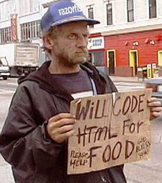 Will Code HTML for Food - a post dot com leit motiv